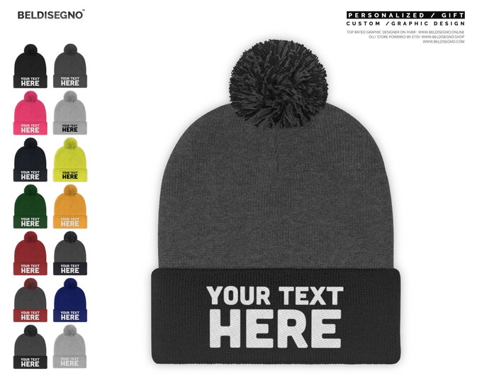 Custom Pom Pom Beanie - Pom Pom Beanies for Men and Women / Custom Embroidered Pom Pom Beanie