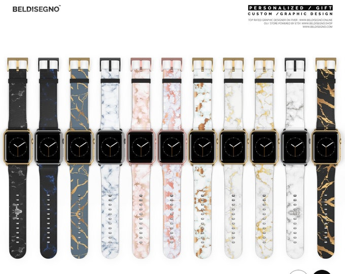 Custom Apple Watch Band 38mm 42mm Leather Series 1, 2, 3 and 4 devices for Men Women Girls Rose Gold Silver with monogram personalization