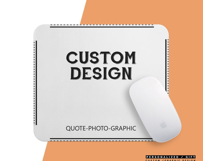Custom Mousepad Name, Personalized Mouse Pad , Marble Mousepad, Floral Mousepad with saying picture animal cat dog photo picture