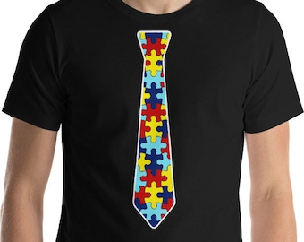 Autism Shirt | Puzzle Tie Short-Sleeve Unisex T-Shirt | | Autism Awareness | Autism Shirt