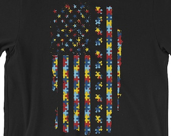 Autism Awareness USA Flag Puzzle T-shirt | Short-Sleeve Unisex T-Shirt | | Autism Awareness | Autism Shirt