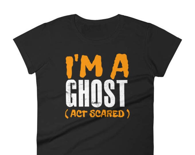 Women's  Halloween Shirt Women's I'm A Ghost Act Scared short sleeve T-shirt for Halloween Party - Halloween gift for Women Girls