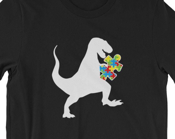 Autism Au Saurus Heart Puzzle Love Autism Awareness Shirt | Short-Sleeve Unisex T-Shirt | Autism Awareness | Autism Shirt | BelDisegno