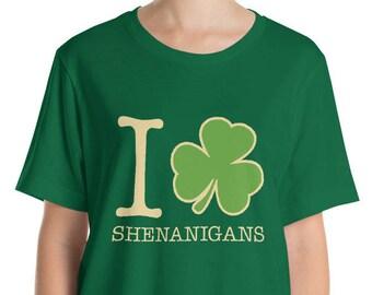 St. Patrick's Day Shirt. I Love Shenanigans Shirt.