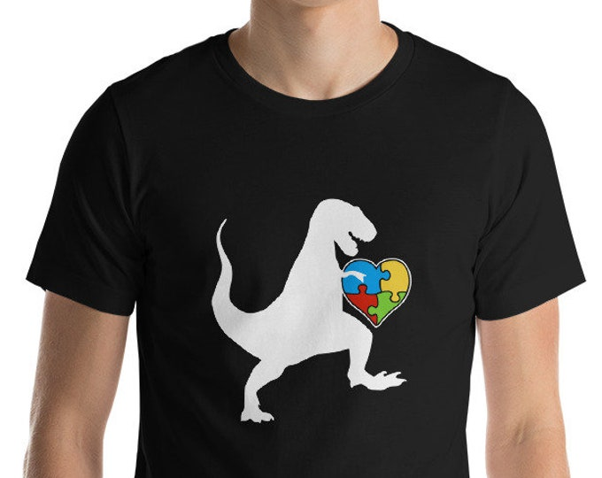 Autism Au Saurus Heart Puzzle Love Autism Awareness Shirt | Short-Sleeve Unisex T-Shirt | Autism Awareness | Autism Shirt