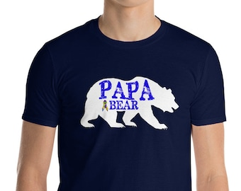 Autism Dad Gift | Autism Papa Bear Short-Sleeve T-Shirt | Gift for father of autistic child | Autism Awareness