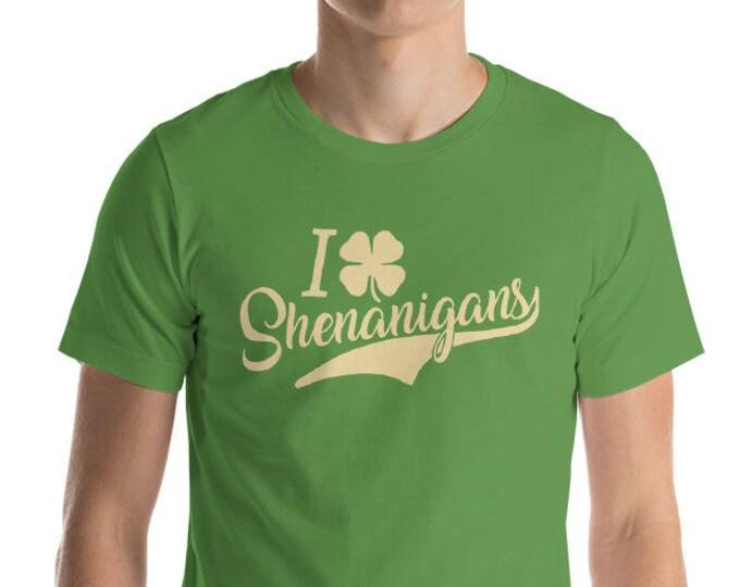 St. Patrick's Day Shirt. I Love Shenanigans Shirt. Clover T-Shirt Funny St. Patrick's Day Tee Shirt