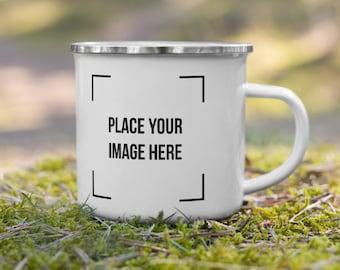 Custom Enamel mug, Personalized camping mug, Customize Camper campfire mug with text photo logo camp mug  bible Verse enamel mug self gift