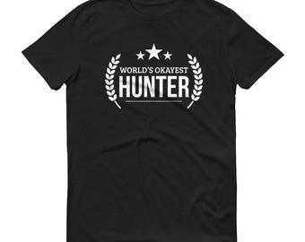 Hunter shirt, Men's World's Okayest Hunter t-shirt - hunting gifts for boyfriend, hunters gift, gift for hunter, duck hunter