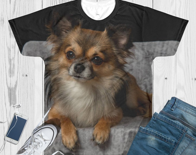Custom All-Over Cut & Sew Women's T-shirt -Personalized Printed T-Shirt - Custom Sublimation T-Shirt - custom dog picture shirt