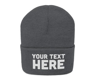 Custom Knit Beanie Hat for men women - Custom Embroidery (Personalized) Embroidered Name Beanie Knit Cap