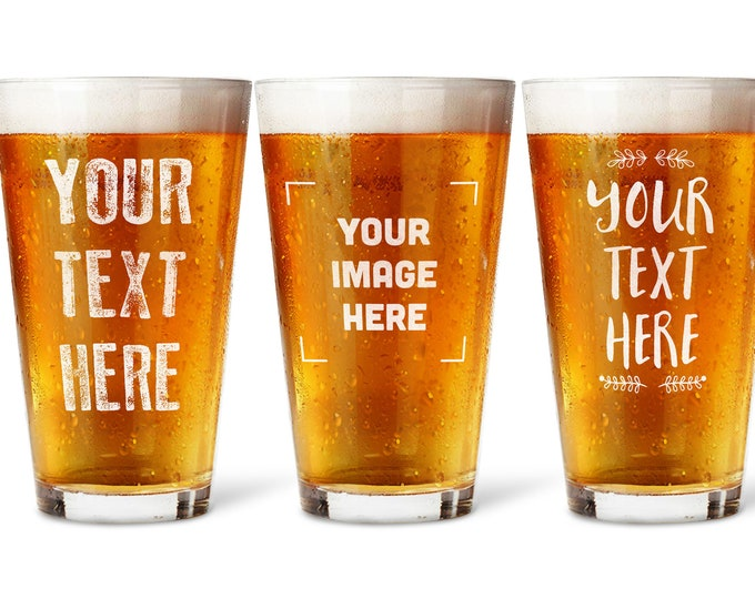 Custom Pint Glass with your Text, Personalized Beer Glasses Groomsmen Gift, Wedding Glasses, Gift for Dad Bridal Party Best Man Glass
