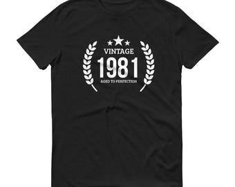 1981 Birthday Gift, Vintage Born in 1981 t-shirt for men, 37th Birthday shirt for him, Made in 1981 T-shirt, 37 Year Old Birthday Shirt