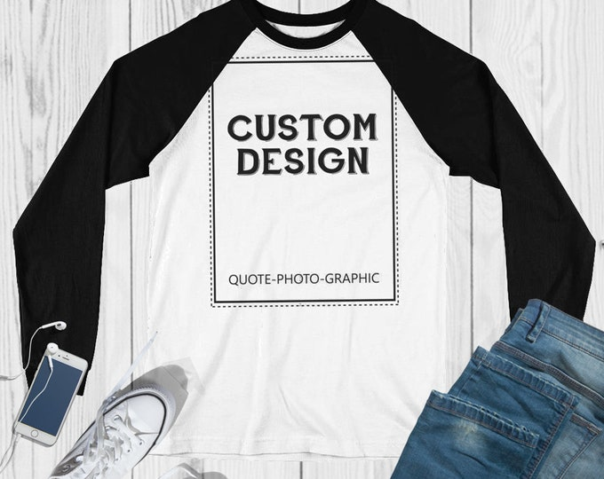 Personalized Long Sleeve Baseball T-Shirt  Customize With your photo - Logo - Graphic custom text quote