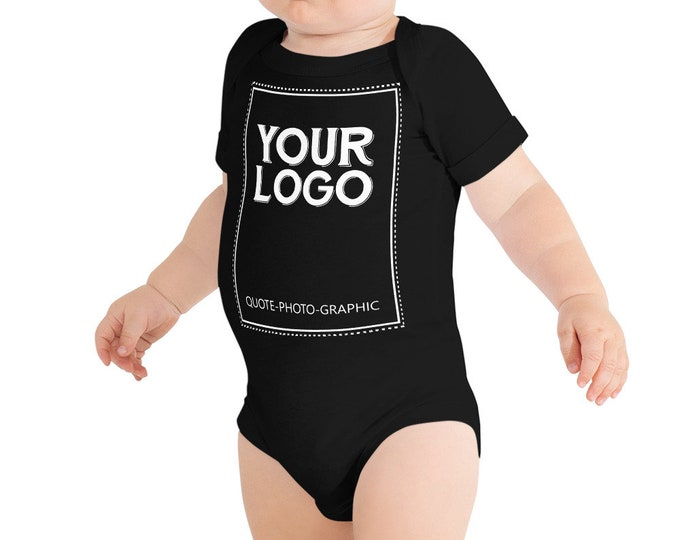 Custom Logo Baby Jersey Short Sleeve One Piece  - Personalized baby shirt with name, photo