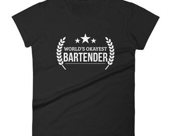 Bartender gifts, Women's World's Okayest Bartender T-shirt - Funny gift for favorite bartender | BelDisegno
