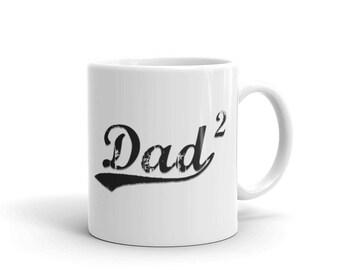 Dad of two, Dad 2 - Two Kids Dad2 Distressed Printed Coffee Mug
