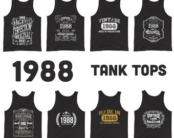 1988 Birthday Gift, Vintage Born in 1988 Tank tops for men women 33rd Birthday shirt for him her Made in 1988 Tanks 33 Year Old Birthday