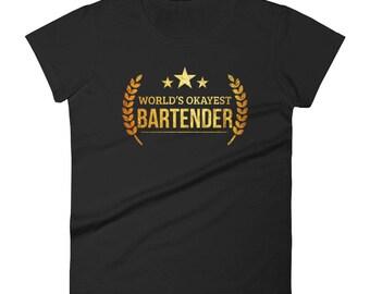 Bartender t-shirt, Women's World's Okayest Bartender - Funny gift for your favorite bartender | BelDisegno