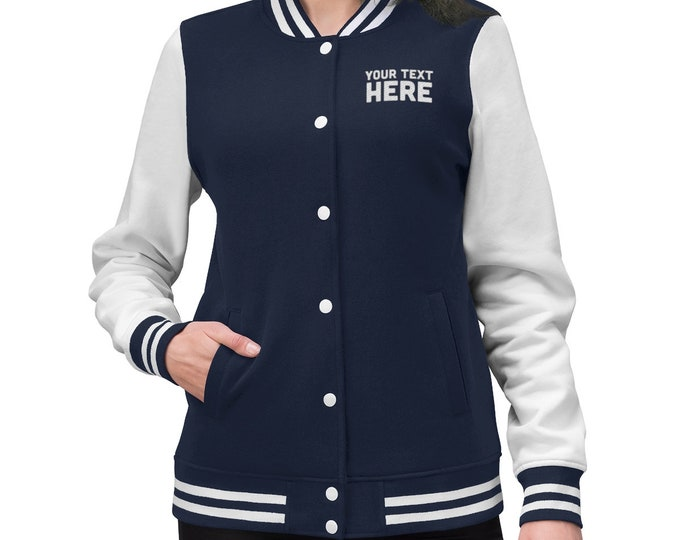 Custom Embroidered Varsity Jacket for Men Women with Letter, Blue Navy Baseball Jacket, Personalized Sport Jacket with Monogram Letter