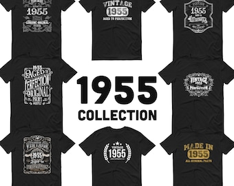 1955 Birthday Gift, Vintage Born in 1955 t-shirt for men, 65th Birthday, Made in 1955 T-shirt, 65 Year Old Birthday Shirt - 1955 Collection