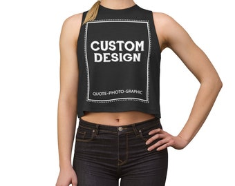 Custom Crop top Sleeveless - Personalized Women's Crop Tee - Fine Sleeveless Cropped T-Shirt Customize With your photo Logo Graphic