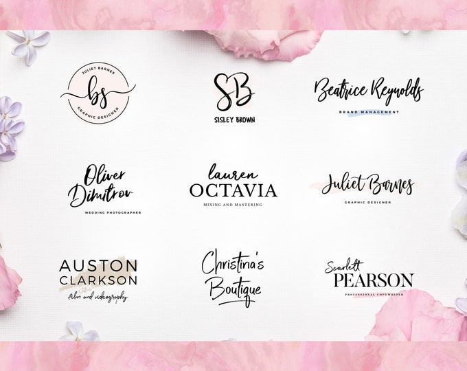Boutique logo, Hand-Drawn logo design, floral logo, botanical custom logo design watercolor logo feminine shop girl logo photography logo