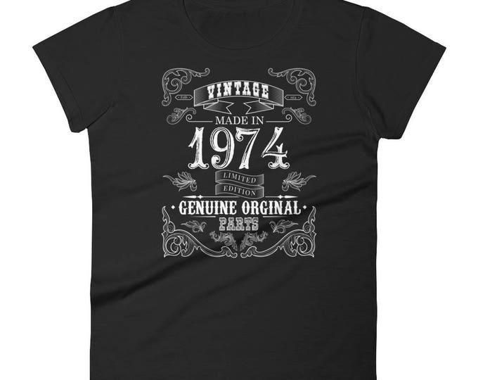 1974 Birthday Gift, Vintage Born in 1974 t-shirt for women, 44th Birthday shirt for her, Made in 1974 T-shirt, 44 Year Old Birthday Shirt
