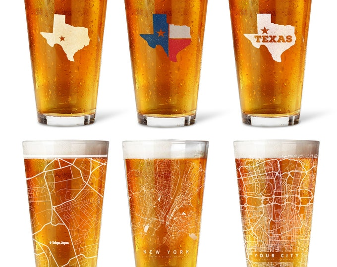 State Pint Glasses Custom Pint Glass, ohio state, michigan state, washington state, texas, California