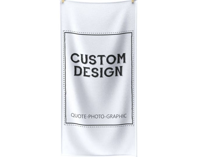 Personalized Polycotton Towel - Custom Beach Towel - Funny towel with name / Photo / cartoon / clip art / Graphic and quote