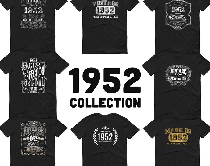 1952 Birthday Gift, Vintage Born in 1952 t-shirt for men, 68th Birthday, Made in 1952 T-shirt, 68 Year Old Birthday Shirt, 1952 Collection