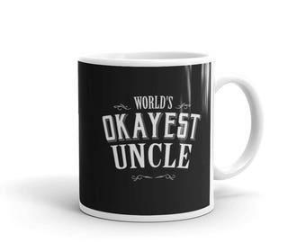Uncle Gift, World's Okayest Uncle Coffee Mug, Gift for Uncle, new uncle gift, best uncle | BelDisegno