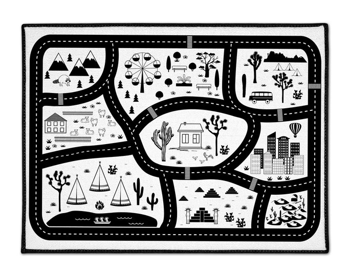 Road Rug For Kids, Nursery Rug For Boys Play Rug, Play Mat Car Rug For Kids, Road Map Rug
