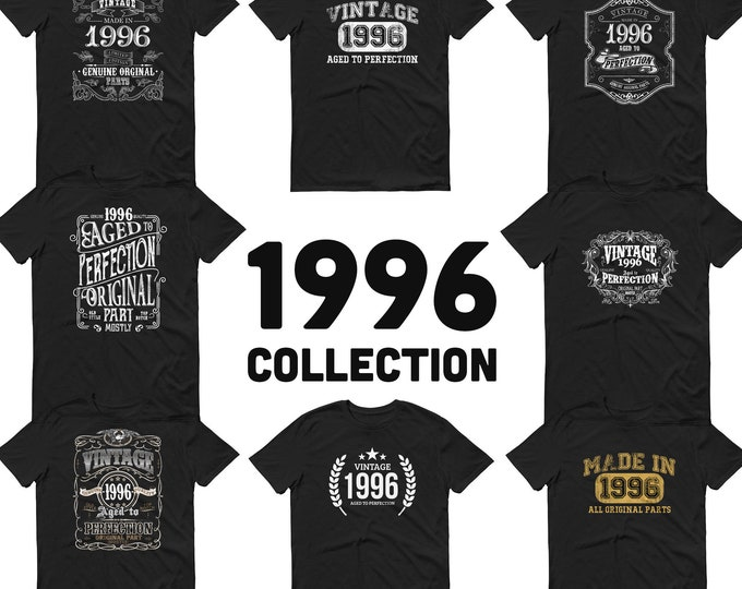 1996 Birthday Gift, Vintage Born in 1996, 24th Birthday shirt for him her, Made in 1996 T-shirt, 24 Year Old Birthday for Men Women