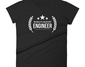 Engineer Gift, Women's World's Okayest Engineer t-shirt - Female engineer gifts, gifts for engineers engineer birthday - graduation