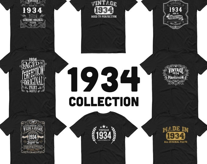 1934 Birthday Gift, Vintage Born in 1934 t-shirt Unisex 86th Birthday Made in 1934  T-shirt, 86 Year Old Birthday Shirt - 1934 Collection