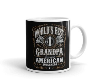 World's Best No 1 Grandpa American Superhero Coffee Mug