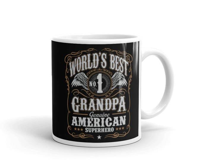 Men's World's Best No 1 Grandpa American Superhero Coffee Mug