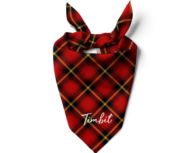 Plaid Dog Scarf Custom Dog Bandana, Personalized Cat Bandanas Pet Scarf Plaid Dog Scarf designer bandana