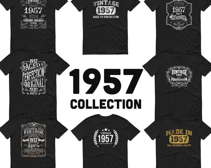 1957 Birthday Gift, Vintage Born in 1957 t-shirt, 63rd Birthday , Made in 1957 T-shirt, 63 Year Old Birthday Shirt - 1957 Collection