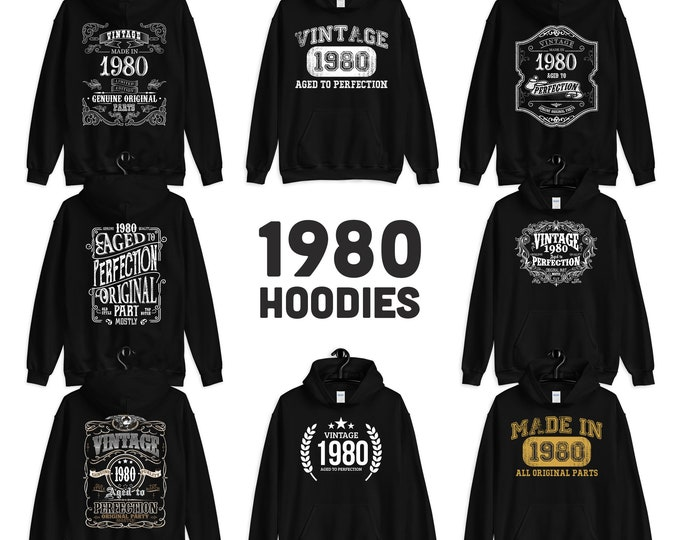 1980 Birthday Gift, Vintage Born in 1980 Hooded Sweatshirt for women men, 40th Birthday Hoodies for Her him, Made in 1980 Hoodie 40 Year Old