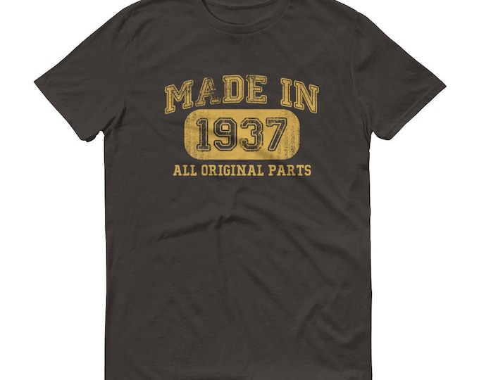 1937 Birthday Gift, Vintage Born in 1937 t-shirt for men, 82nd Birthday shirt for him, Made in 1937 T-shirt, 82 Year Old Birthday Shirt