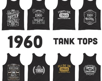 1960 Birthday Gift, Vintage Born in 1960 Tank Tops for women men, 61st Birthday shirt for her him, Made in 1960 Tanks, 61 Year Old Birthday
