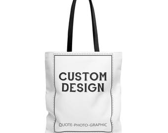 Personalized Aop Tote Bag - Custom Shopping bag for women / kids / dog / walkers / book  Customize With your photo Logo Graphic custom text