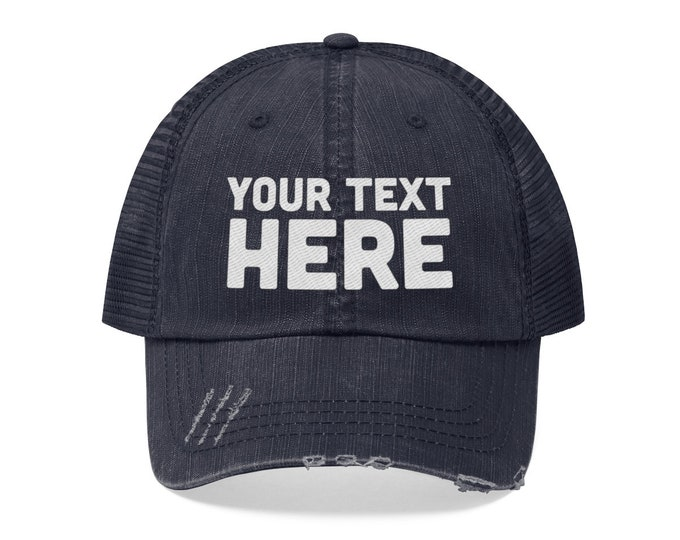 Custom Unisex Trucker Hat - Custom distressed Men's Women's Trucker Hat Personalized Cap Your text here Embroidered Cap