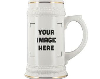 Custom Beer Steins Personalized Photo Beer Stein Groomsmen Beer Stein ceramic beer mug 16oz 20oz 22oz with Gold Trim Glass Ceramic D-Handle