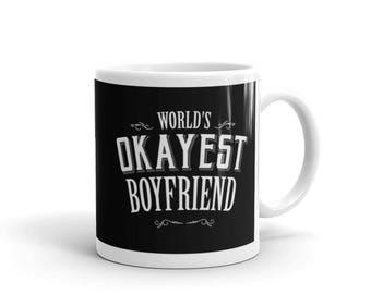 boyfriend birthday gift, Boyfriend gift Mug, World's Okayest Boyfriend Coffee Mug, boyfriend anniversary gift | BelDisegno