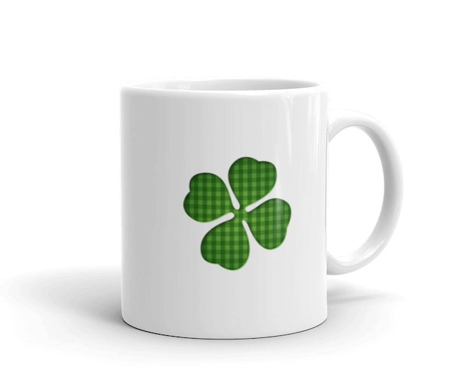 Clover St Patricks Day Coffee Mug, four leaf clover shamrock St Patrick's day  shamrocks 4 leaf clover Irish gifts mug