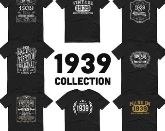 1939 Birthday Gift, Vintage Born in 1939 t-shirt for men, 82nd Birthday, Made in 1939 T-shirt, 82 Year Old Birthday Shirt 1939 Collection