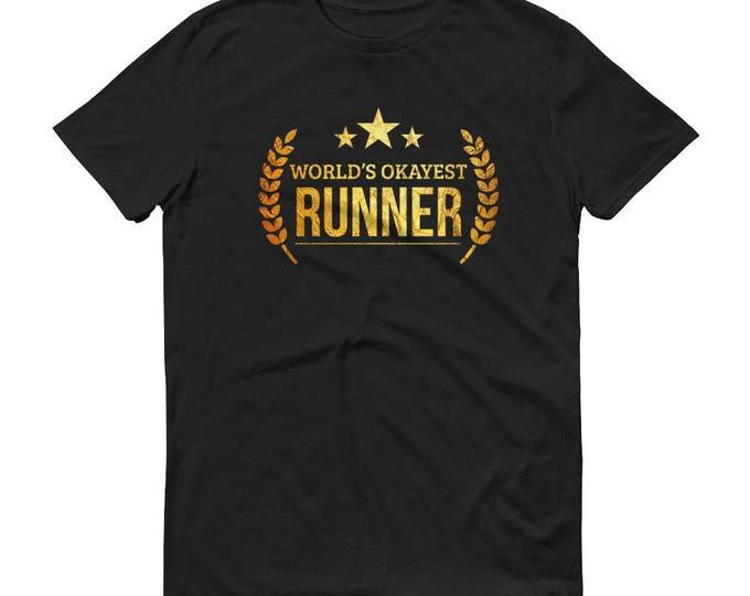 Marathon Runner Gift, Men's World's Okayest Runner t-shirt - unique gifts for male runners, gift for half marathon runner